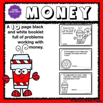 Money Word Problems Booklet: Peppermint Cafe'