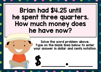 Money Word Problems Boom Cards (Amounts up to $5)
