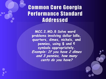 Money Word Problems Daily Power Point One:  MCC.2.MD.8
