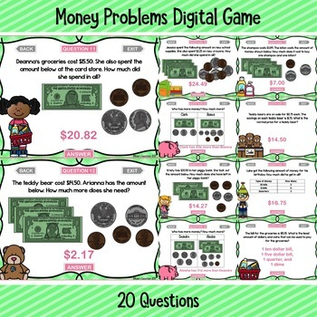 Money Word Problems Digital Game ~ PowerPoint and Version for Google Slides™