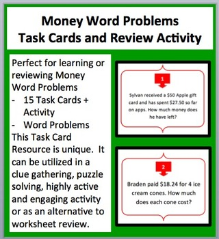 Money Word Problems -Final Price, Change and Cost Task Cards and UNIQUE Activity