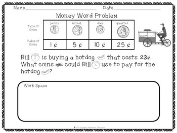 Money Word Problems For Beginning Readers