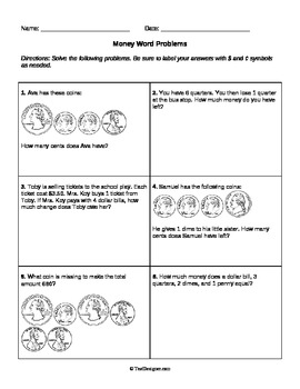 Money Word Problems: Grade 2 Common Core 2.MD.C.8