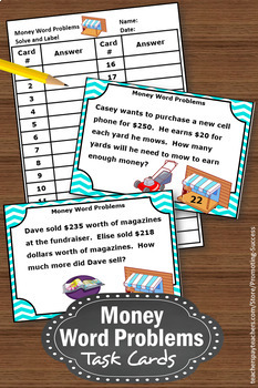Money Word Problem Task Cards, 4th Grade and 5th Grade Math Review