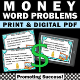 Money Word Problems 5th Grade Math Distance Learning Task Cards Digital + Print