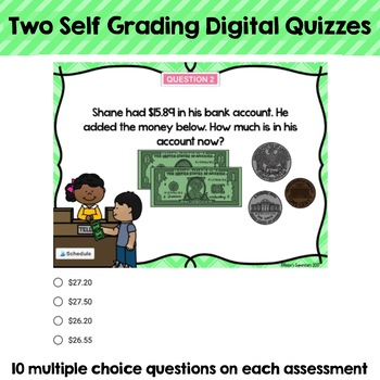 Money Word Problems Self-Grading Digital Assessments: Coins and Dollars