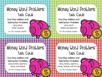 Money Word Problems  Bundle ~ Addition and Subtraction Task Cards/ Scoot