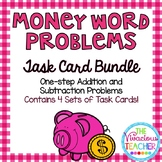 Money Word Problems  Bundle ~ Addition and Subtraction Task Cards/Scoot Activity