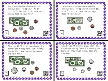 Money Word Problems Task Cards - Counting Coins, Addition, and Subtraction