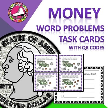 Money Word Problems Task Cards - Counting Coins, Addition,