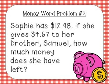 Money Word Problems ~ Addition and Subtraction Task Cards/ Scoot Activity
