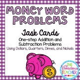 Money Word Problems (Dollars, Quarters, Dimes, and Nickels) Task Cards/Scoot