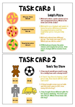 Money Word Problems Task Cards Year 4 ACMNA080