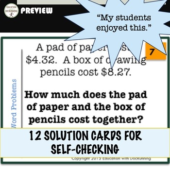 Money Word Problems Task Card Activity