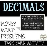 Money Word Problems Task Card Activity