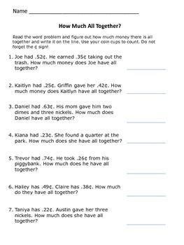 Money Word Problems (U.S. Denomination)