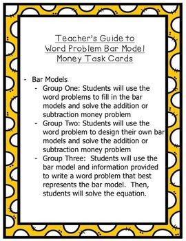 Money Word Problems Using Bar Models - Task Cards