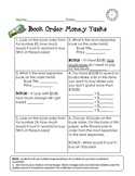 Money Word Problems Using Scholastic Book Orders