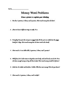 Money Word Problems Worksheet 2.MD.8