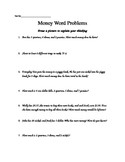 Money Word Problems Worksheet 2.MD.8