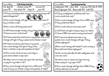 Money Word Problems using a Price List Grade 3