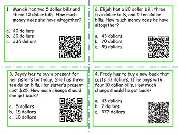 Money Word problems with unknows in all positions (QR Codes)