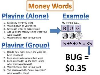 Money Words - Word study & Money skills game