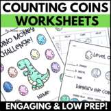 Second Grade Money and Counting Coins Worksheets No Prep