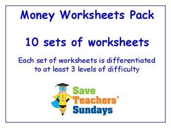 Money Worksheets Bundle / Pack (10 sets for 2nd to 4th grade)