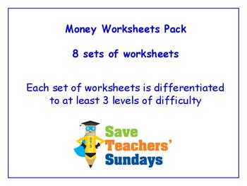 Money Worksheets Bundle / Pack (8 sets for 1st to 2nd grade)