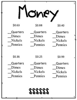 Money Worksheets.  Counting Change.  How many ways can you make...?