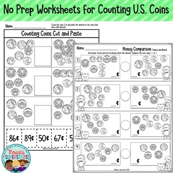 Money Worksheets ~ Counting U.S. Dollars and Coins