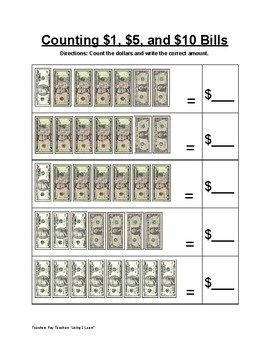 money worksheets life skills 20 differentiated counting dollar up more. Black Bedroom Furniture Sets. Home Design Ideas