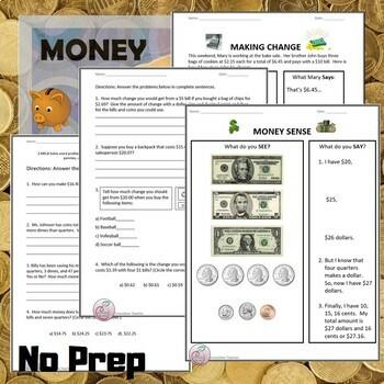 "Money Worksheets - ""Money Sense"" and ""Making Change"""
