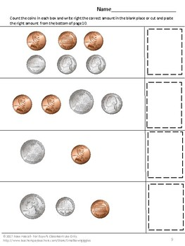 Coin Counting, Money Skills for Special Education, Pennies Nickels Dimes Quarter