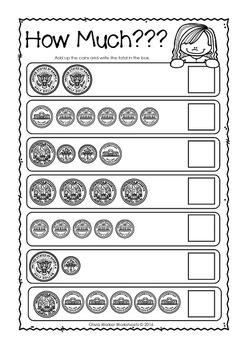 Money Worksheets / Printables / Kindergarten / Grade One USA Coins Notes