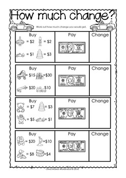 money worksheets printables kindergarten grade one usa coins notes. Black Bedroom Furniture Sets. Home Design Ideas
