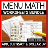 Money Worksheets and Word Problems Bundle Menu Math Distan