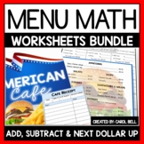 Money Worksheets and Word Problems Add Subtract & Next Dollar Up American Cafe