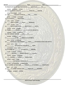 Money and Banking Missing Words Spanish Worksheet