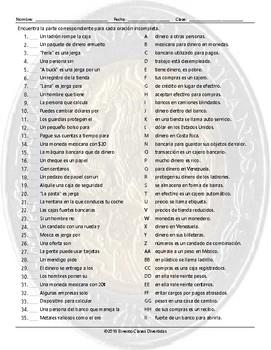 Money and Banking Sentence Match Spanish Worksheet