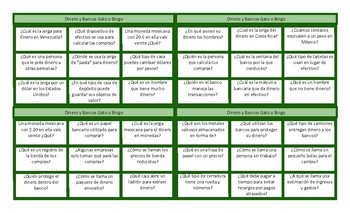 Money and Banking Spanish Tic-Tac-Toe or Bingo Game