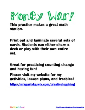 Money and Change Math Workstations: Money War