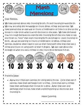 Money and Counting Math Newsletters