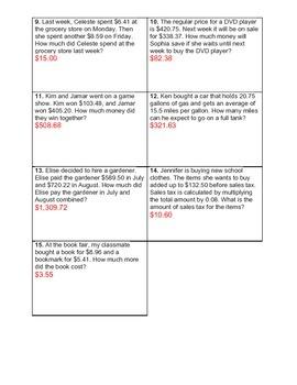 Money and Decimals Multiplication #1