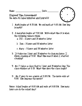 Money and Elapsed Time Word Problem Assessments