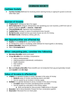 Money and Income Unit Summary [Personal Finance Unit 2]