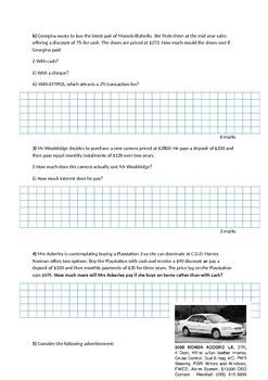 Money and Percentage Written Test