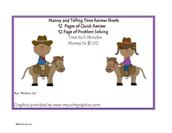 Money and Telling Time Quick Review Sheets
