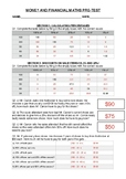Money and financial maths pre test Answers - AusVELS level 5 to 8